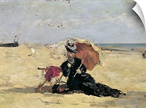Victorian Costume 1880 (Eugene Louis Boudin Wall Peel Wall Art Print entitled Woman with a Parasol on the Beach, 1880)