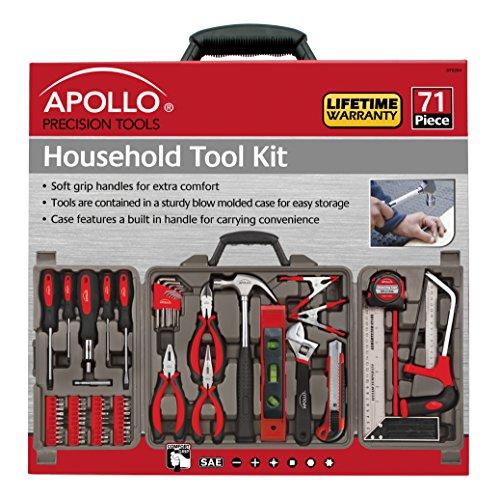 Apollo Tools DT0204 71 Piece Household Tool Kit with Most Reached for Hand Tools in Storage Case by Apollo Tools (Image #1)