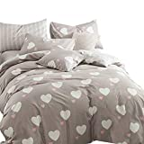 EnjoyBridal Teens Kids Bedding Duvet Cover Sets Twin Girls Boys Brown Cotton Heart-Shaped Comforter Duvet Cover Sets 2pc Pillow Shams, No Comforter (Twin, Heart-Shaped)