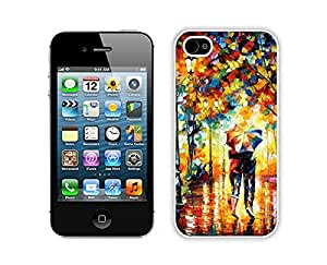 Element Amazing Apple Iphone 4s Case Durable Soft Silicone TPU Rain Day Street Art Design White Phone Protective Case Cover for Iphone 4