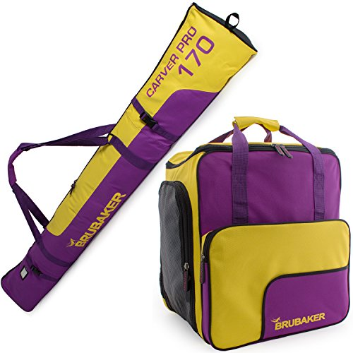 BRUBAKER Superfunction - Limited Edition - Combo Ski Boot Bag and Ski Bag for 1 Pair of Ski, Poles, Boots and Helmet - Purple Yellow