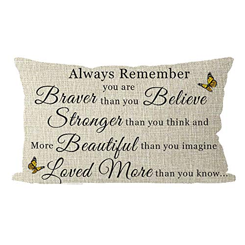 ITFRO Aunts Daughters Birthday Gift with Inspirational Words Always Remember Than You Believe Lumbar Burlap Throw Pillow Case Cushion Cover Couch Bedroom Decorative Rectangle Oblong 12x20 Inches