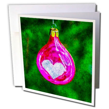 Green Christmas Photo Cards (3dRose Alexis Photography - Holidays Christmas - Christmas ornament of pinkish purple color. Green background, stylized photo - 1 Greeting Card with envelope (gc_267115_5))
