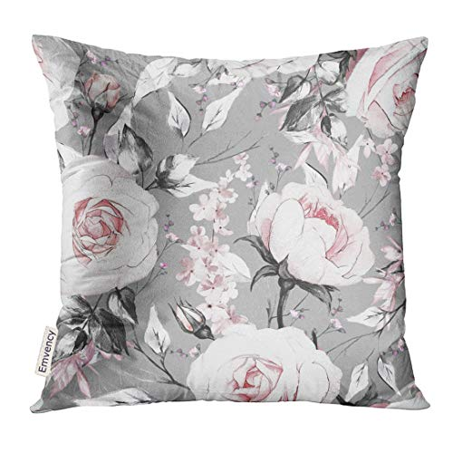 VANMI Throw Pillow Cover White Watercolor with Pink Flowers and Leaves on Gray Oil Painting Canvas Floral Pattern Rose Abstract Decorative Pillow Case Home Decor Square 18x18 Inches Pillowcase