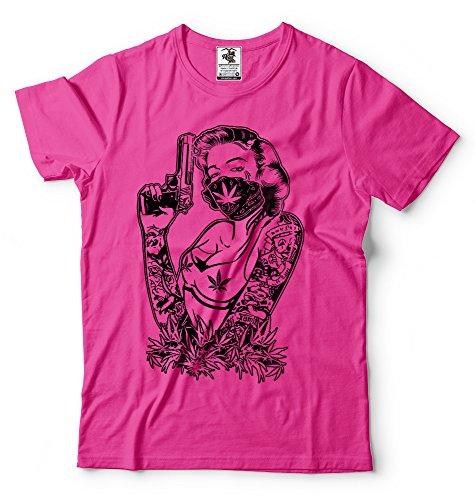 Silk Road Tees Marijuana T-Shirt Cannabis Funny Mens T-Shirt Monroe Tee Shirt 420 Ganja Tee Shirt Small Pink
