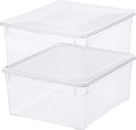 Rotho Clear, Juego de 2 cajas de almacenamiento de 18l con tapa, Plástico PP sin BPA, transparente, 2 x 18l 40.0 x 33.5 x 22.0 cm: Amazon.es: Hogar