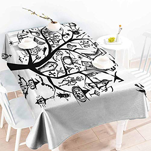 Homrkey Wrinkle Resistant Tablecloth Halloween Decorations Sketch Style Halloween Tree with Spooky Decor Objects and Wicked Witch On Broom Black White Excellent Durability W60 xL84 -