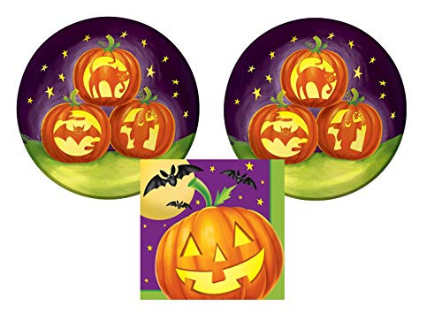 Pumpkin Silhouette Halloween Party Plates and Napkins - Jack-O-Lanterns Serves 16 - Halloween Paper Plates and Napkins - Serves 16 (Pumpkin Silhouette Halloween Party) -