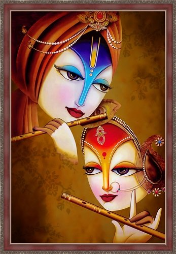 Radha Krishna Canvas Painting With Frame