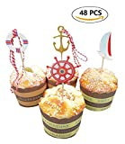 A Little Lemon 48 Pcs Nautical Theme Cupcake Picks Cupcake Toppers Food Fruit Picks for Decoration