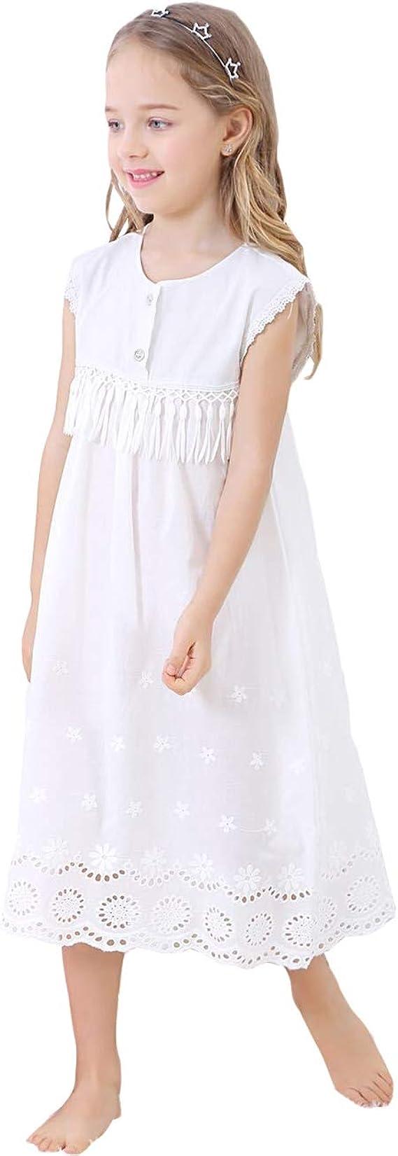 Gaga city Camicia da Notte da Principessa per Donna e Ragazza Abito da Pigiama a Maniche Lunghe Bianco 100/% Comodo Vintage Vestito