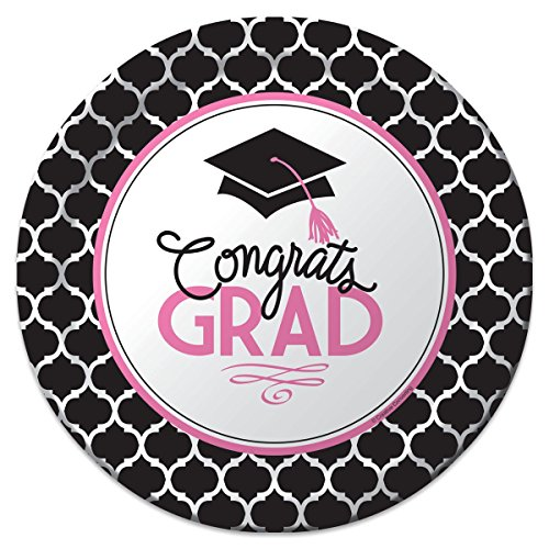 "Creative Converting 18 Count Sturdy Style Paper Dinner Plates, 8.75"", Glamorous Grad, Black/White/Pink"