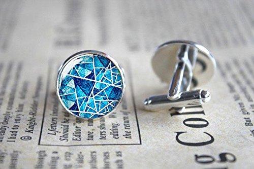 - Vintage Blue Abstract Geometry Studs Photo Glass Cuff Links-Silver Round Blue Cufflinks for Men Women-Handmade Boyfriend Wedding Christmas Gift