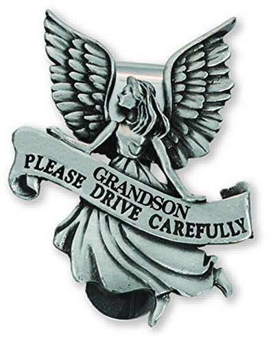 - Grandson Please Drive Carefully Guardian Angel in Pewter Auto Visor