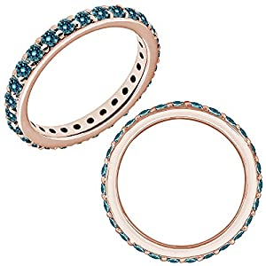 0.45 Carat Blue Diamond Engagement Eternity Beaded Classic Wedding Band Ring 14K Rose Gold