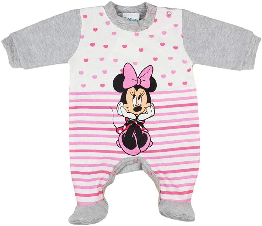 Disney Girls Long-Sleeved Babygrow with Foot Minnie Mouse Size 50 56 62 68 Baby Sleepsuit Early Newborn 0 3 6 9 Months