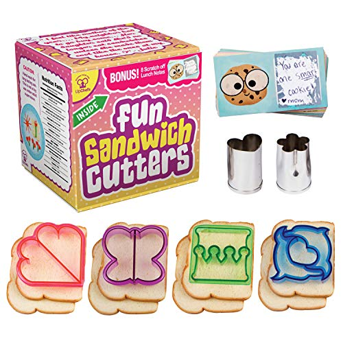 UpChefs Sandwich Cutters For kids - Create Healthy School Lunches in Minutes with These Fun Bento Lunch box Accessories – Includes Fruit and Vegetable cookie cutters for kids Plus Fun Scratch Notes