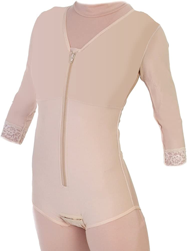 Style 32S Body Shaper Brief Style mit Sleeves Closed Crotch (X-Large) Beige