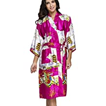 FLYCHEN Women's satin kimono robe sleepwear for ladies plus size
