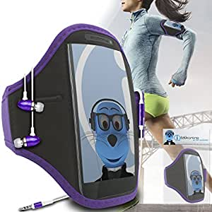 Light Purple Black Adjustable Sports GYM Jogging Running ArmBand Case Cover with 3.5mm Aluminium Headphones For Dell Venue Pro