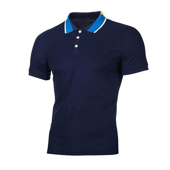 4603c6291a POLP Hombres Tipped Camisa Polo Manga Corta Casual Moda Algodón Camisas  Cuello en Contraste Golf Tennis