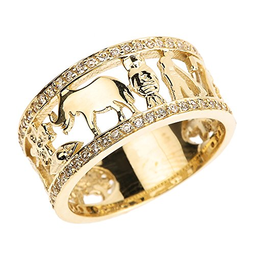 Solid 10k Yellow Gold CZ Studded Ring with Elephant, Owl, Horseshoe, Seven, Evil Eye and Clover Flower (Size 10)