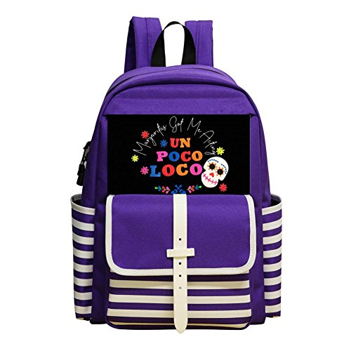 Margaritas Got Me Acting Un Poco Loco Tank Kindergarten And Elementary School Durable Backpack, Boy And Girl Purple Backpack (Margarita Got)