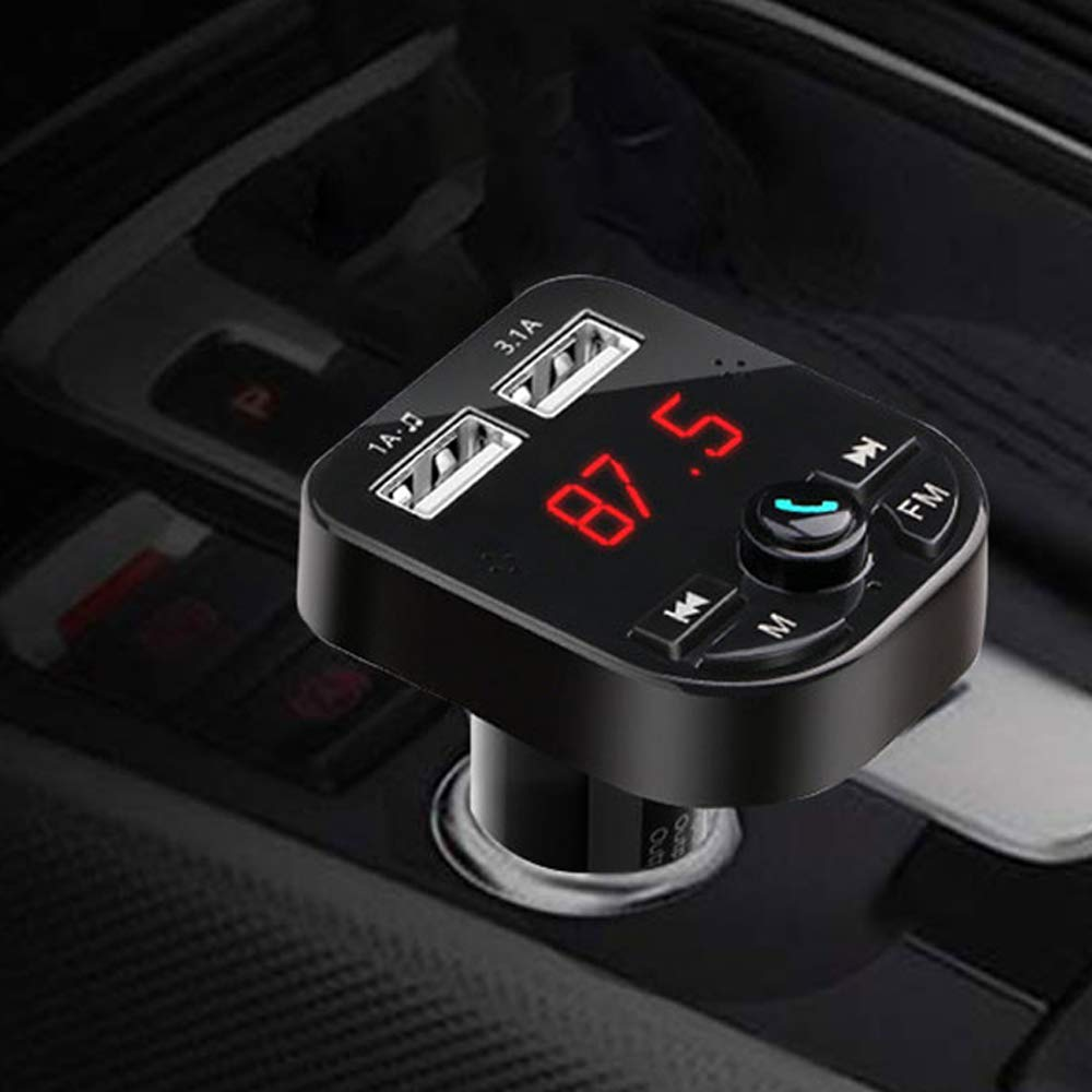 Black Wireless Bluetooth FM Transmitter for Car,Huifen Car Kit Audio Adapter /& Receiver with Mic Handsfree Call MP3 Player Voice Navigation Fast Charger with 2 USB Ports,TF Card Port /& AUX Output
