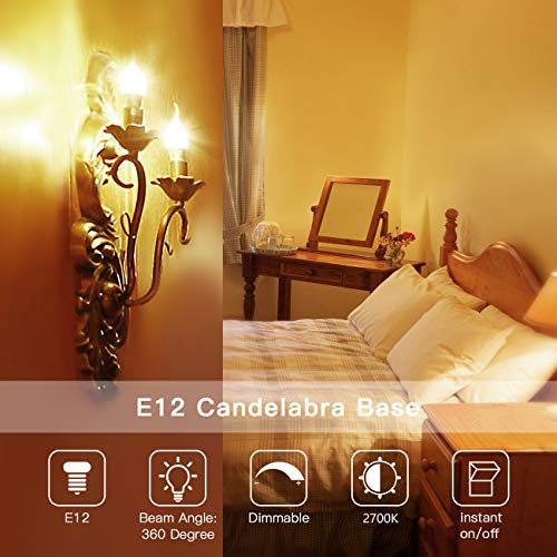 E12 LED Candelabra Bulb 60W Equivalent Dimmable LED Chandelier Light Bulbs 6W 2700K Warm White 550LM CA11 Flame Tip Vintage LED Filament Candle Bulb with Decorative Candelabra Base, 6 Packs, by Boncoo by Boncoo (Image #1)