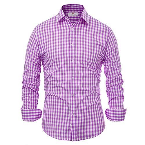 Paul Jones®Men's Shirt Men's Business Casual Dress Shirt Button Up Purple Plaid (S) KL-5 CL6299 ()