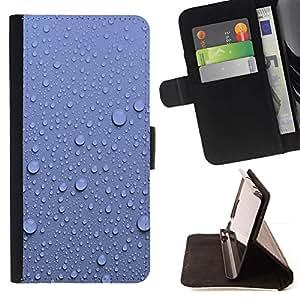 Momo Phone Case / Flip Funda de Cuero Case Cover - Gotitas de agua Pared Azul Patrón Naturaleza - Samsung Galaxy A5 ( A5000 ) 2014 Version