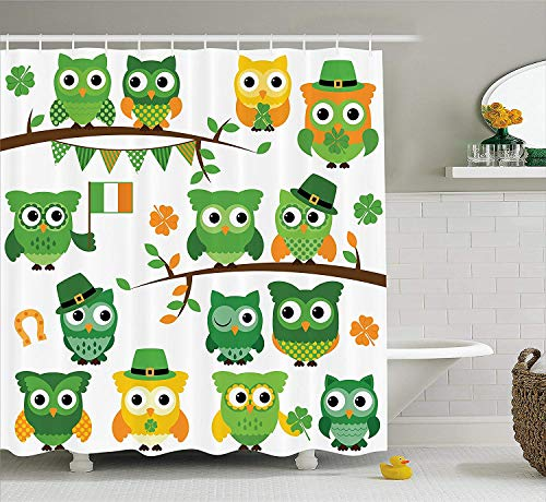 SPXUBZ St. Patrick's Day Irish Owls with Leprechaun Hats on Trees Shamrock Leaves Horseshoe Green and White Shower Curtain Waterproof Bathroom Decor Polyester Fabric Curtain Sets with Hooks]()