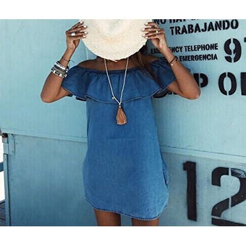 Holly s Women s Off Shoulder Denim Shirt Dress Skirt cheap ... f19652990f
