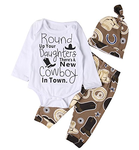 Newborn Baby Boys Funny Bodysuits with Leggings Caps