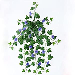 "XHSP 2 Bunches Artificial Vines 35.4"" Morning Glory Hanging Plants Silk Garland Fake Green Plant Home Garden Wall Fence Stairway Outdoor Wedding Hanging Baskets Decor 3"