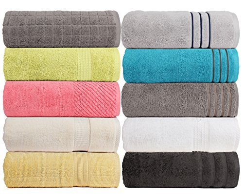 CASA COPENHAGEN Exotic 575 GSM (16.96oz/yd²) 28 x 55 inches 100% Combed Cotton 4 pieces Combo Bath Sheets Towels set in any Assorted Four Colours by CASA COPENHAGEN