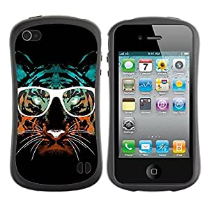 Hybrid Anti-Shock Bumper Case for Apple iPhone 4 4S / Hipster Glasses Cool Tiger
