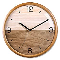Kesin Modern Wood Wall Clock 12 Silent Non Ticking Analog Wall Clocks Battery Operated For Living Room Decor, Pine Wood Frame With Dome Glass Cover Large Decorative Digital Wall Clock