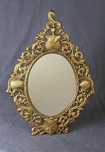 AA Importing Oval Mirror w Frame in Antique Brass Finish