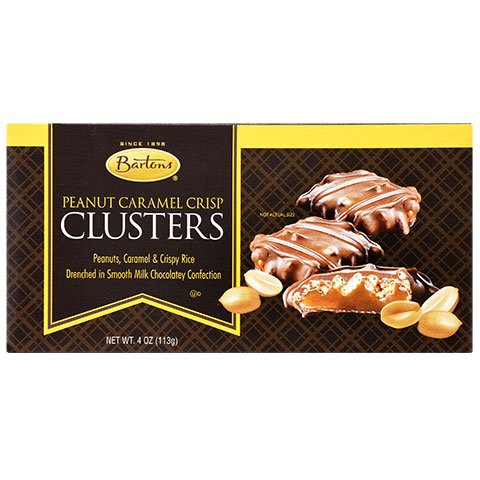 Barton's Peanut Caramel Peanut Crisp Clusters, 4 oz Gift Box Caramel Crisp