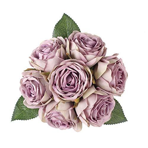 Louiesya Artificial Flowers Bouquet Silk Roses 7 Flower Heads Fake Flowers Bridal Wedding Bouquet for Home Garden Party Floral Arrangements Floral Centerpieces Kitchen Party Decor DIY (Gray Purple) (Rose Hydrangea Bouquet)