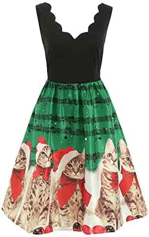 03461d7900890 ZEFOTIM Women Fashion Sleeveless Christmas Cats Musical Notes Print Vintage Flare  Dress