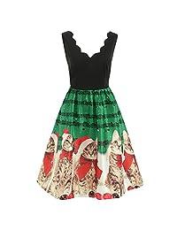 FarJing Womens Dress Fashion Christmas Cats Musical Notes Print Vintage Flare Dress