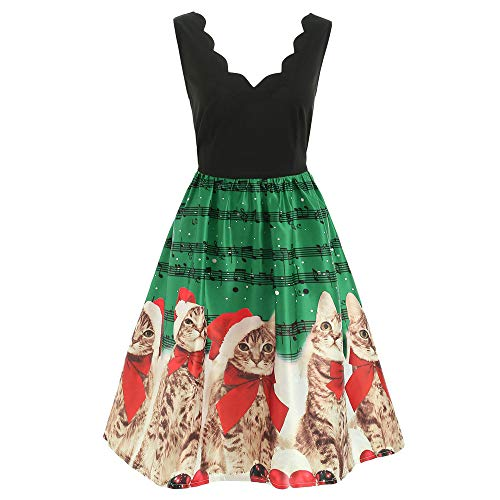 Christmas Dresses, Women Sleeveless Cats Musical Notes Print Vintage Flare Party Dress Rakkiss Green