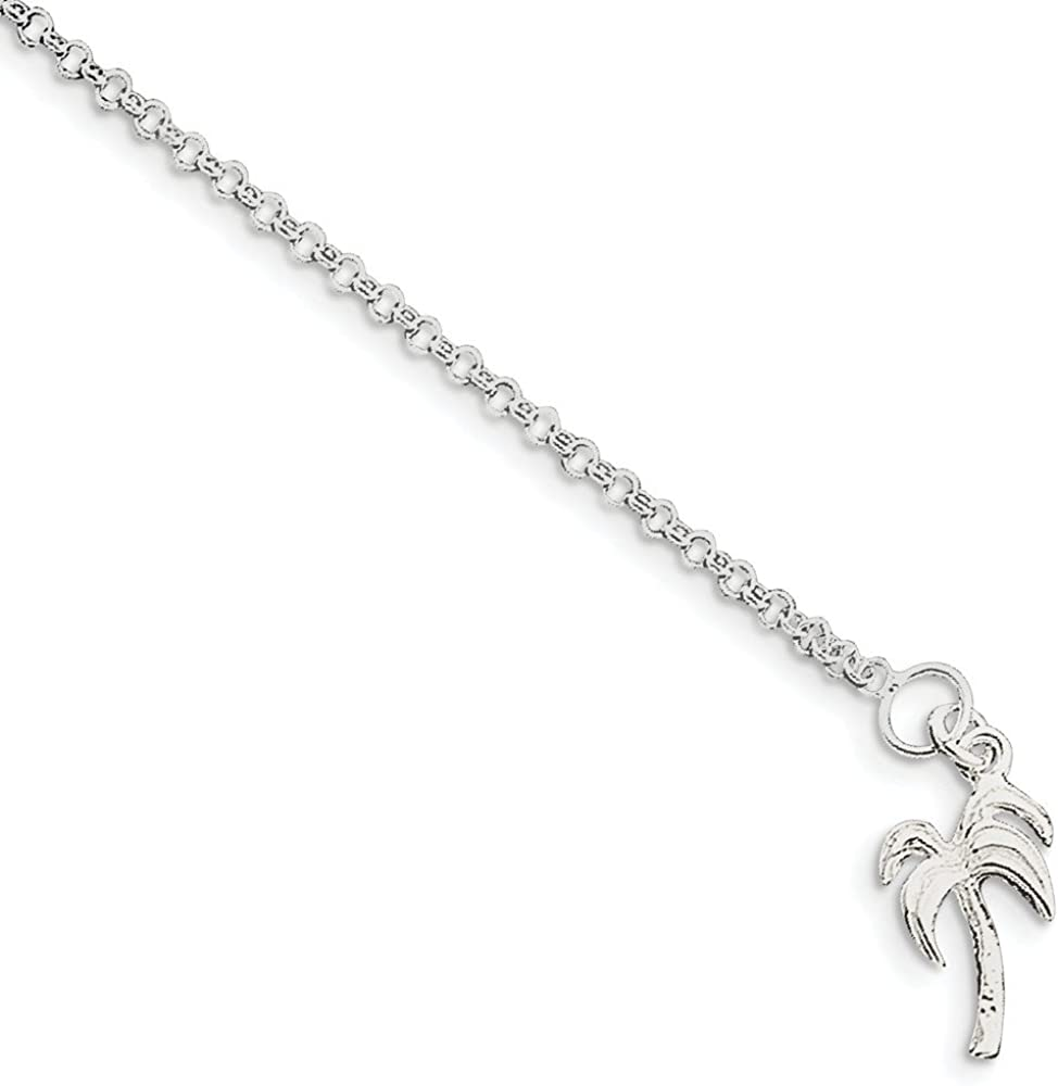 Black Bow Jewelry Sterling Silver Palm Tree 3mm Rolo Link Anklet