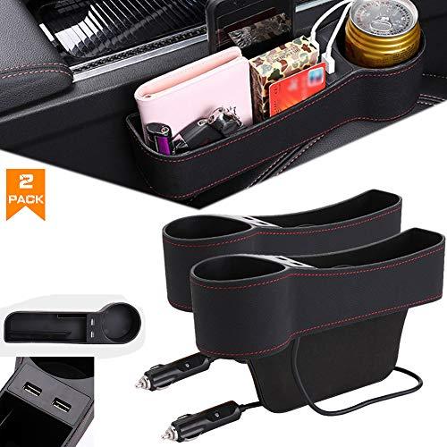 Airphe Car Seat Gap Organizer Filler Car Console Side Pocket PU Leather Car Seat Gap Filler with 2 USB Charging Car Console Side Organizer with Cup Holder for Cellphones Wallet Coin Key Black-2pack