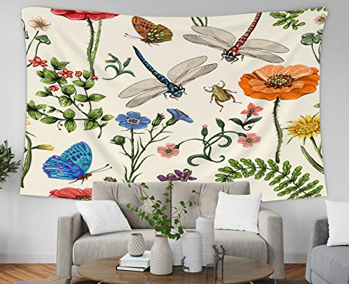 (Pamime Home Decor Tapestry for Summer Pattern Botanical Plants Insects Flowers in Vintage Style Wall Tapestry Hanging Tapestries for Dorm Room Bedroom Living Room 60x50 Inches Tapestry)