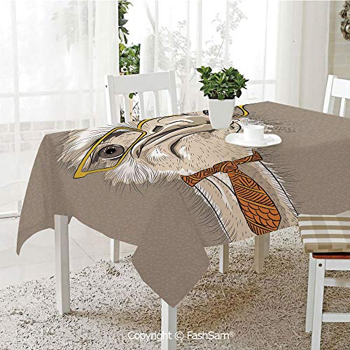 - AmaUncle 3D Print Table Cloths Cover Sketch Portrait of Funny Modern Ostrich Bird with Yellow Eyeglasses and Tie Table Protectors for Family Dinners (W55 xL72)