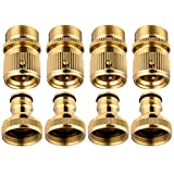JUCTect Garden Hose Quick Connector Brass Fittings - 3/4 inch Water Hose Quick Connect Set (4 Male Connector + 4 Female Connector)