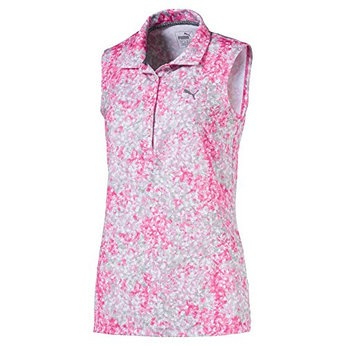 Puma Golf Women's 2018 Floral Sleeveless Polo, X-Small, Carmine Rose